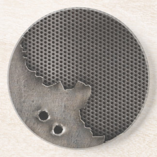 Metal with bullet holes background coaster