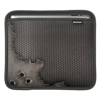 Metal with bullet holes background iPad sleeve