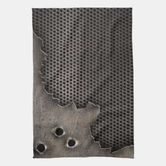 Metal with bullet holes background kitchen towel
