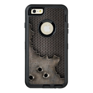 Metal with bullet holes background OtterBox defender iPhone case