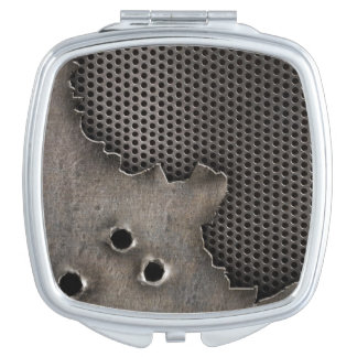 Metal with bullet holes background travel mirror