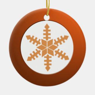 Metalic Brass Circle and Snowflake Round Ceramic Decoration