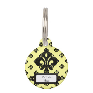 Metalic Fleur de lis (Black) Pet Tag