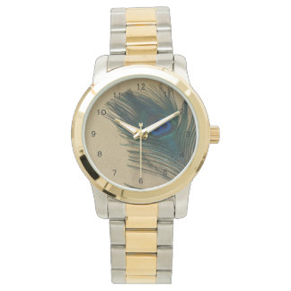 Metalic Gold Peacock Feather Watch
