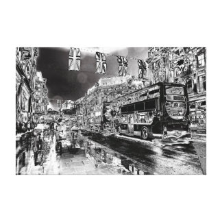 Metalic london night city street gallery wrapped canvas