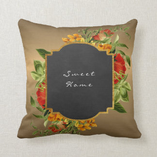 Metall Gold Black Chalkboard Peony Baroque Floral Cushion