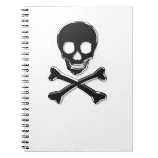 Metall skul and bones spiral notebook