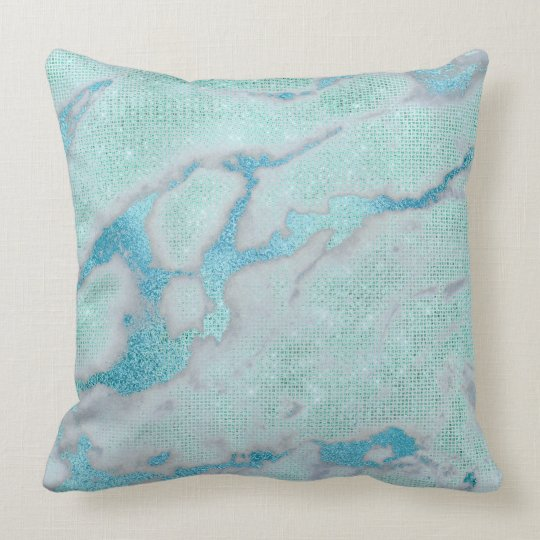 Metallic Abstract Beach Ocean Blue Glam Glitter Cushion