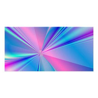 Metallic abstract fractal design custom photo card