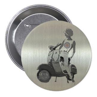 Metallic aluminium effect scooter girl 7.5 cm round badge