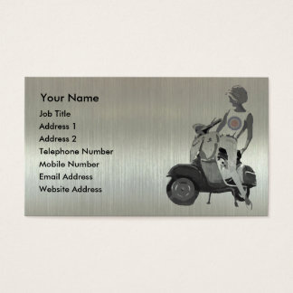 Metallic aluminium effect scooter girl business card
