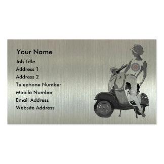 Metallic aluminium effect scooter girl business cards