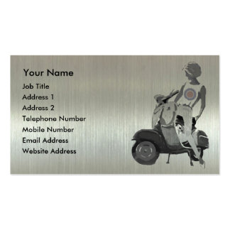 Metallic aluminium effect scooter girl pack of standard business cards