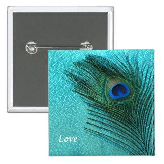 Metallic Aqua Blue Peacock Feather 15 Cm Square Badge