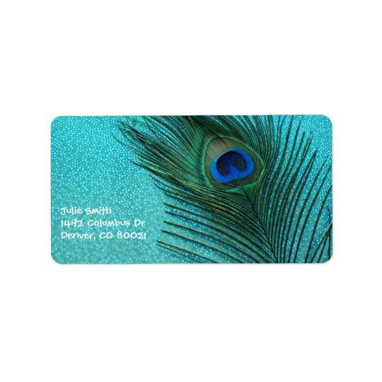 Metallic Aqua Blue Peacock Feather Address Label