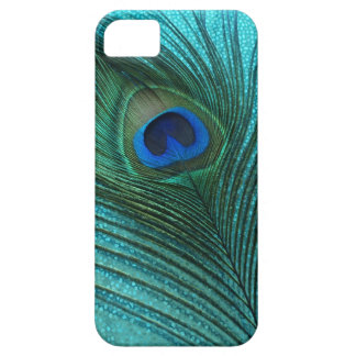 Metallic Aqua Blue Peacock Feather Barely There iPhone 5 Case