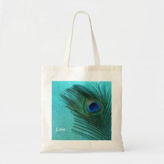 Metallic Aqua Blue Peacock Feather Budget Tote Bag