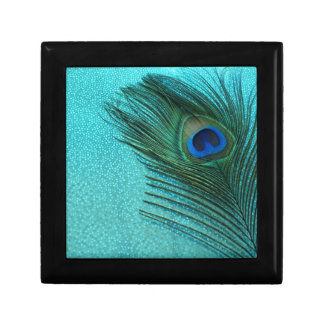 Metallic Aqua Blue Peacock Feather Gift Box