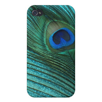 Metallic Aqua Blue Peacock Feather iPhone 4/4S Cover
