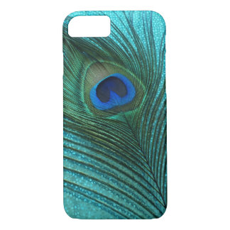 Metallic Aqua Blue Peacock Feather iPhone 8/7 Case
