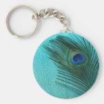 Metallic Aqua Blue Peacock Feather Basic Round Button Key Ring