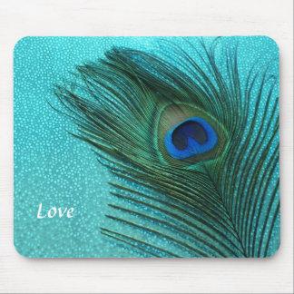 Metallic Aqua Blue Peacock Feather Mouse Mat