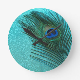 Metallic Aqua Blue Peacock Feather Round Clock