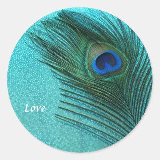 Metallic Aqua Blue Peacock Feather Round Sticker
