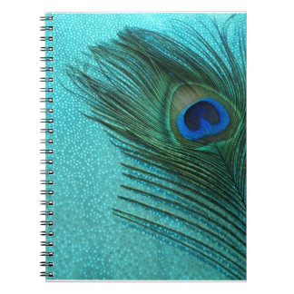 Metallic Aqua Blue Peacock Feather Spiral Notebook