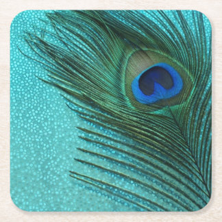Metallic Aqua Blue Peacock Feather Square Paper Coaster
