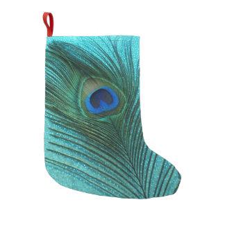 Metallic Aqua Blue Peacock Small Christmas Stocking