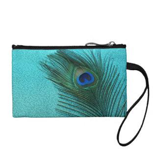 Metallic Aqua Peacock Feather Coin Purse