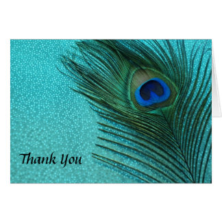 Metallic Aqua Peacock Wedding Thank You Cards