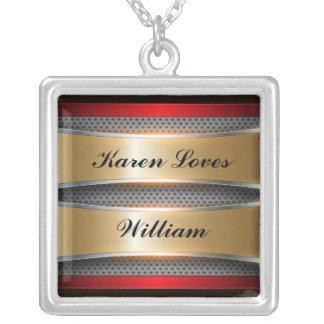 Metallic Background Art 4 Necklace