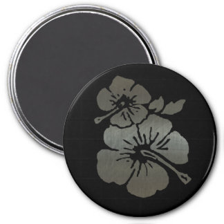 Metallic black and silver textured hibiscus 7.5 cm round magnet