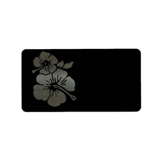 Metallic black and silver textured hibiscus address label
