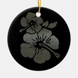 Metallic black and silver textured hibiscus christmas ornament