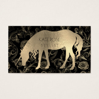 Metallic Black Champaign Gold Floral Unicorn Roses Business Card