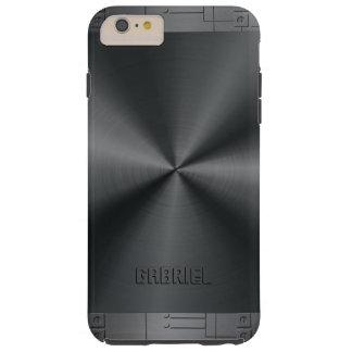 Metallic Black Geometric Accents Tough iPhone 6 Plus Case