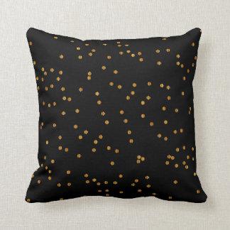 Metallic Black & Gold Confetti Dots Throw Pillow
