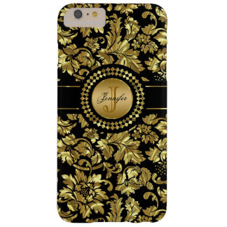 Metallic Black & Gold Vintage Damasks Monogram Barely There iPhone 6 Plus Case