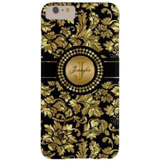 Metallic Black & Gold Vintage Damasks Monogram Barely There iPhone 6 Plus Case