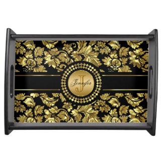 Metallic Black & Gold Vintage Damasks Monogram Serving Tray