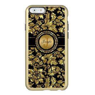 Metallic Black & Gold Vintage Damasks Monogram Incipio Feather® Shine iPhone 6 Case