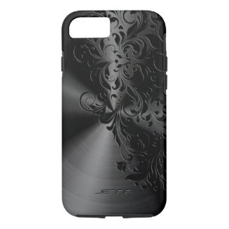 Metallic Black Stainless Steel & Floral Lace iPhone 8/7 Case