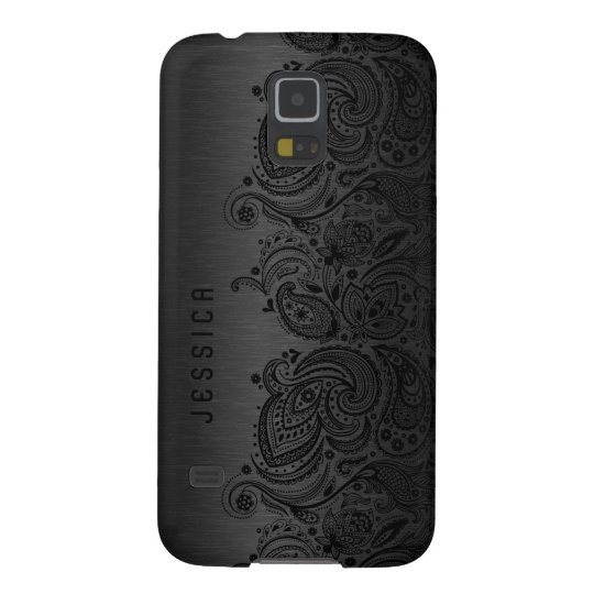 Metallic Black With Black Paisley Lace Galaxy S5
