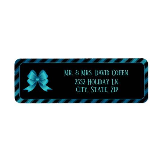 Metallic Blue Bow & Diagonal Stripes