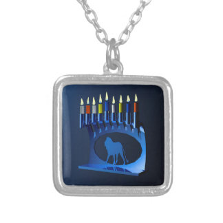 Metallic Blue Chanukkah Menorah Square Pendant Necklace