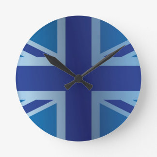 Metallic Blue Classic Union Jack British(UK) Flag Round Clock