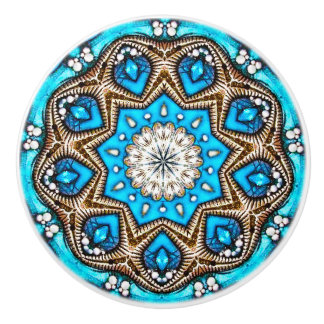 Metallic Blue Fractal Ceramic Knob